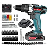 Blackpine Cordless Drills with Impact 18V Lithium-Battery 21+3 Toraue Setting with 2 Speed