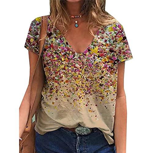 Camiseta de Blusa de Manga Corta Estampada con Cuello en V para Mujer