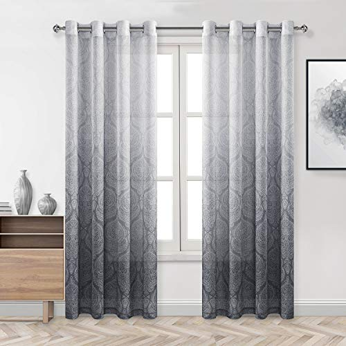 DWCN Grey Damask Ombre Sheer Curtains for Living Room - Faux Linen Gradient Grommet Voile Curtains for Bedroom, 2 Window Curtain Panels, 52 x 84 inches Long