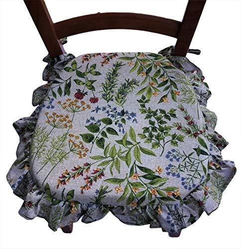 Cuscini sedie Cucina - Set 4 Pezzi - Tessuto Cotone Pesante - con Volant - con Laccetti - con Zip - Misura cm 39 X 39 + Volant- var 4/75 beige