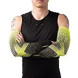 Lohca Mangas de compresión para brazo de protección UV Sun cubierta de brazo deportes al aire libre hombres mujeres - amarillo - Large/X-Large