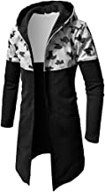 Forthery Men's Trench Coat with Hood Winter Camouflage Zipper Jacket Overcoat Cardigan