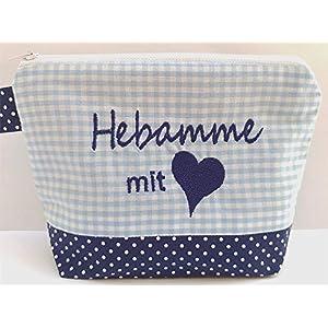 bestickte KOSMETIKTASCHE HEBAMME mit Herz /01/ – Kulturtasche – Tasche – Schminktasche – Makeupbag – bag express…