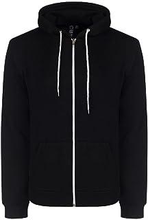 SoulStar Mens Adults Berkeley Full Zip Through Hooded Sweatshirt Tops Black