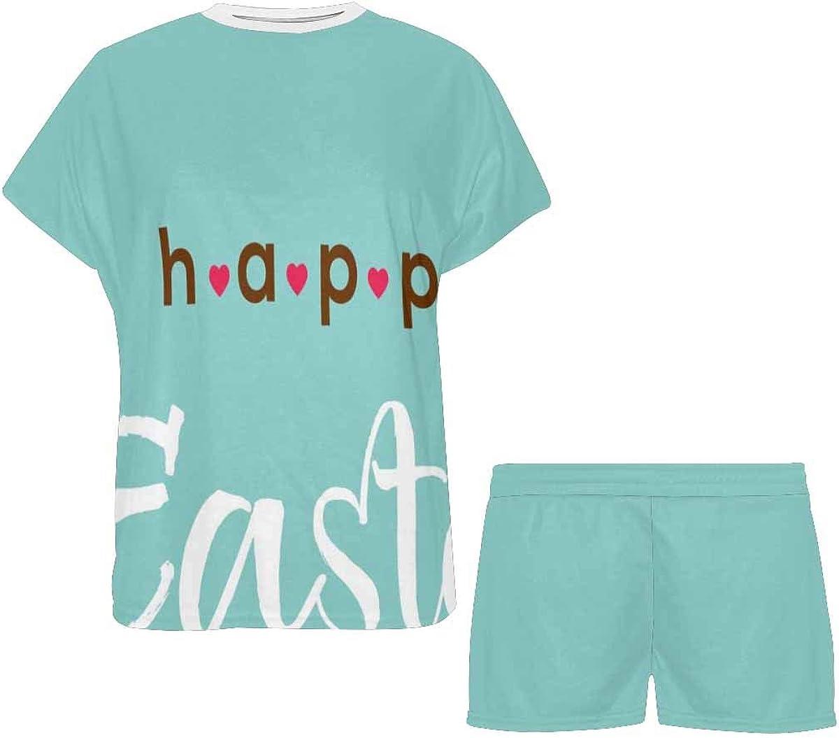 INTERESTPRINT Rabbit, Bunny, Eggs Women's Short Sleeve Breathable Sleepwear Two Piece Pajama Set
