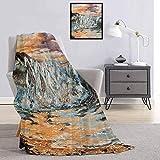 Toopeek - Manta de franela con diseño de caballos en agua con fantástico medio ambiente, pintura retro, súper suave y cómoda, manta de cama de 91 x 60 pulgadas, multicolor