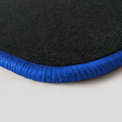 (Randfarbe nach Wahl) Passgenaue Fußmatten aus Nadelfilz Graphit mit royalblauem Rand (204)