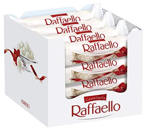 Raffaello -Thekendisplay mit 16 Packungen á 4 Einzelpralinen, kugelförmige Waffeln mit Kokosraspeln, zarter Milchcreme und weißer Mandel