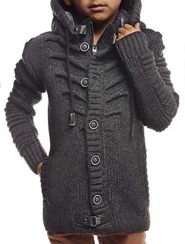 Leif Nelson kinderen jongens gebreide jas met capuchon ritssluiting Cardigan zwarte jas voor winter winterjas overgangsjas hoodie vrijetijdsjas lange mouwen LN5607K