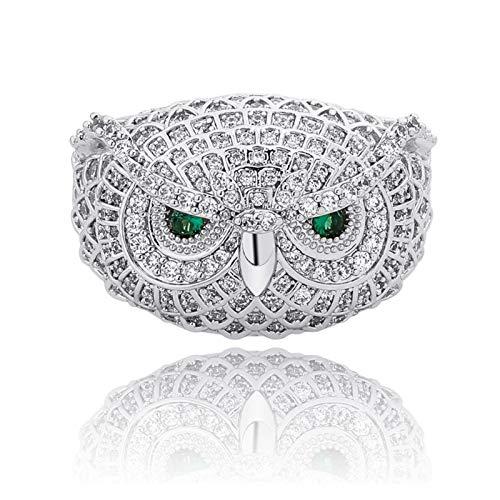 3°Amy Anillo Búho Búho Anillo Animal Plateado Personalidad op para Hombres Mujeres (Metal Color : Silver Color, Ring Size : 9)