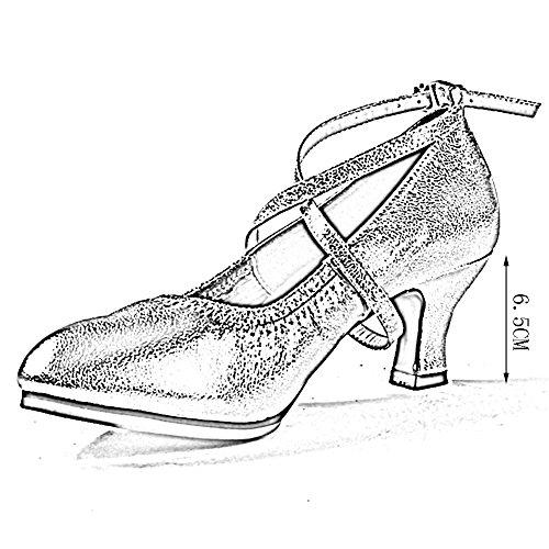 PENGFEI Lateinische Tanzschuhe Stiefeletten Mittlerer Absatz Frühling Und Herbst Schnüren Formelle Anlässe Flacher Mund Damen 3 Farben (Farbe : Gold, größe : EU39/UK6/L:245mm) - 4