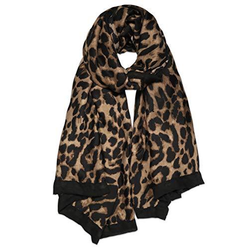 SOJOS Bandana Damen mit Leopardmuster Ultraleicht Halstuch aus Chiffon Schals SC321 mit Brauner Leopard