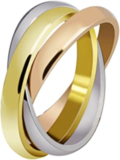 Across Womens Stainless Steel Trinity Ring Tri-Tone Interlocked Rolling Wedding Band Gold Rose Silver