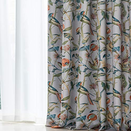 VOGOL Birds and Leaves Print Soundproof Window Curtains, Room Darkening Drapes for Dining Room, 2 Panels, 52''W x 63''L, Terracotta with Teals