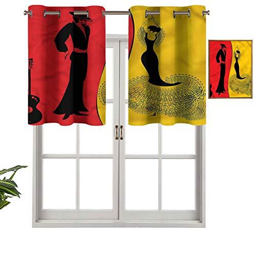 Hiiiman Cortinas térmicas aisladas 100% opacas, cenefa de bailarines españoles, baile flamenco, juego de 2, 42 x 36 pulgadas para dormitorio con ojales