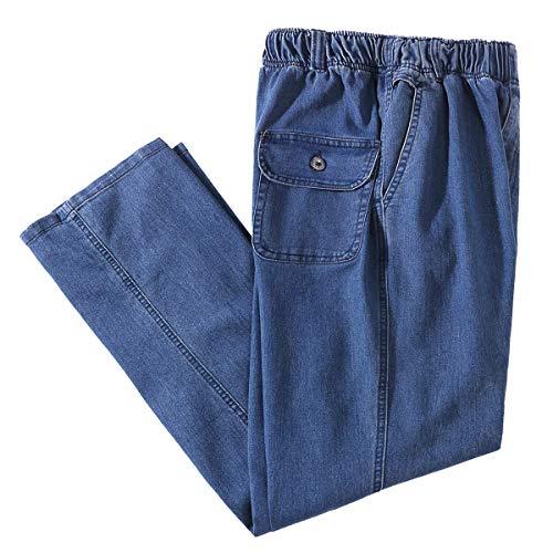 IDEALSANXUN Men's Elastic Waist Loose Fit Denim Pants Casual Solid Jeans Trouser (36, Light Blue)