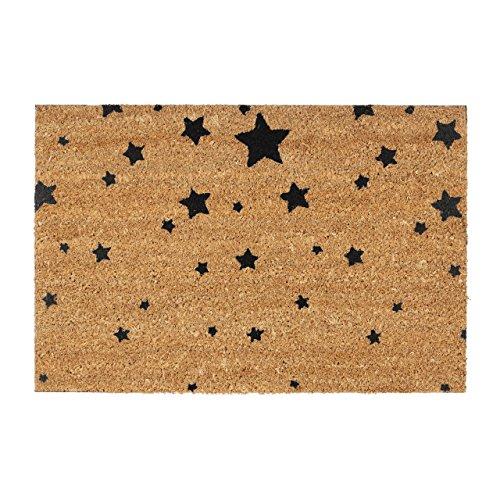 Relaxdays Fußmatte Kokos Motiv STERNE 40 x 60 Kokosmatte mit rutschfester PVC Unterlage Türmatte und Fußabtreter aus Kokosfaser als Schmutzfangmatte und Sauberlaufmatte oder Türvorleger, grau