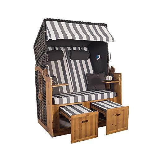 2-Sitzer Strandkorb Hörnum - Volllieger mit Fußablagen – inkl. Nackenkissen und Kuschelkissen Set - (Geflecht - Schwarz, Grau - Blockstreifen)