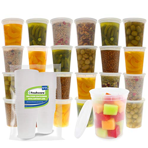Freshware Food Storage Containers [240 Set] 32 oz Plastic Deli Containers with Lids, Slime, Soup, Meal Prep Containers | BPA Free | Stackable | Leakproof | Microwave/Dishwasher/Freezer Safe