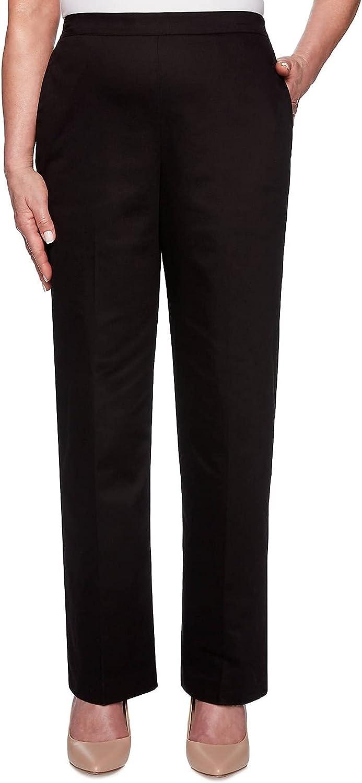 Alfred Dunner Women's Street Smart Proportioned Sateen Pants - Short Length (Black, 8 Petite)