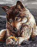 YUHHGFK Pintar por Numeros Adultos Lobo Animal Pintura al óleo de DIY por Números con Pinceles y Pinturas para Adultos y Niños Decoraciones para el Hogar- 40 x 50 cm (Sin Marco)