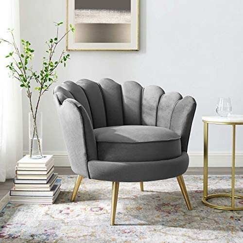 Best Modway Admire Scalloped Edge Performance Velvet Accent Lounge Arm Chair in Gray