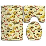 GGdjst Conjuntos de Alfombrilla de baño de 3 Piezas Mexico Taco Pattern Extra Soft Bath Rugs (20'x32') Contour Mat (20'x16') and Lid Cover (18'x14')