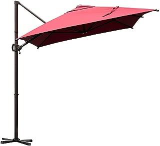 Abba Patio Offset Cantilever Umbrella 9 by 7-Feet Rectangular Patio Hanging Umbrella with Cross Base, Dark Red