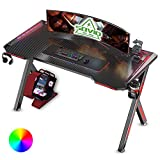 SOViD Gaming Desk with LED RGB Lights 47 Inch PC Computer Desk Y Shaped Gamer Setup Accessories for Sons' Gift Game Table Gamer Handle Rack Cup Holder & Headphone Hook Black and red