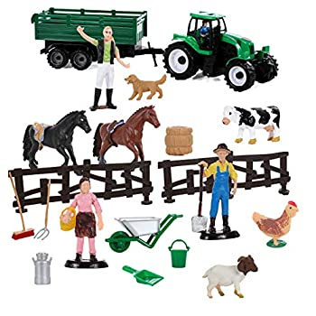 Migration Play Farming 20 Piece Set with Farm Animals 2 Horses Farmers a Tractor and Accessories
