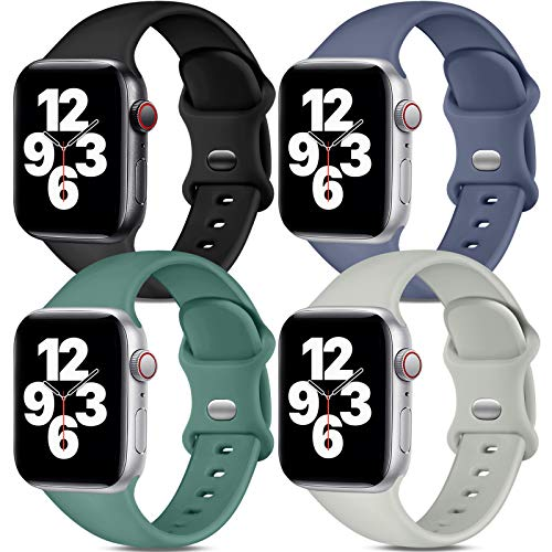Dirrelo [4-Pack] Sport Bands Compatible with Apple Watch Bands 38mm 40mm 42mm 44mm, Soft Si…