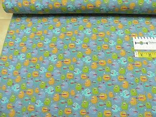mollipolli-stoffen Jersey Kleine kleurrijke monsters op grijsblauw katoen Jersey kinderen 0,5 m
