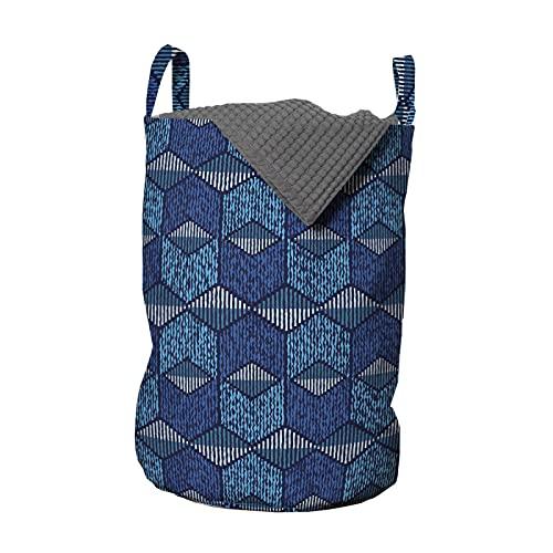 ABAKUHAUS ikat Bolsa de lavandería, Líneas de Chevron México Vintage, Cesta con asas Cierre de cordón para las lavanderías, 33 x 33 x 49 cm, Azul oscuro y azul claro