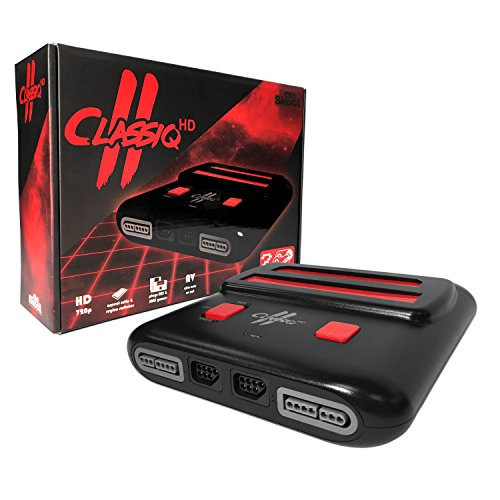 Old Skool Classiq 2 HD 720p Twin Video Game System, Black/Red Compatible with SNES/NES Nintendo and Super Nintendo Cartridges
