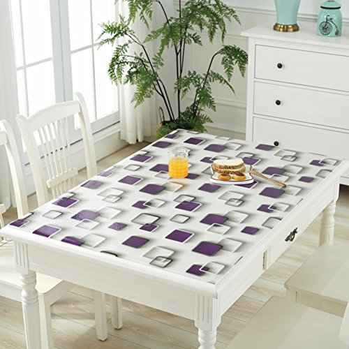 HM&DX PVC Kunststoff klar Tischdecken Wasserdicht Ölfreie Abwaschbar Tabelle Cover Tuch Protektor Schreibunterlage Für küche Kaffee esstische-lila 60x120cm(24x47inch)