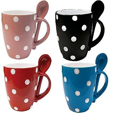 Mug and Spoon Combo 12 oz Polka Dot Coffee Mug and Tea Cup (Set of 4 Assorted Colors)