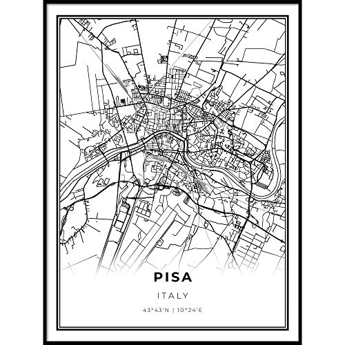 Skanndi Pisa Map Print, Italy Italia Map Art Poster, Tuscany, Modern Wall Art, Street Map Artwork 18x24