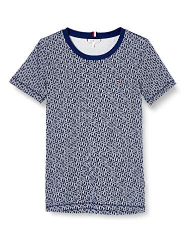 Tommy Hilfiger Damen Essential Round-nk Top Ss Sport Pullover, Blau (Linear Th Cube PRT/Blue Ink 02e), 34 (Herstellergröße: Small)