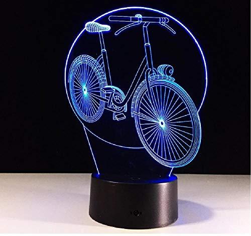 3D lámpara visual LED bicicleta 3D noche luz lámpara táctil remoto USB mesa bebé dormir noche