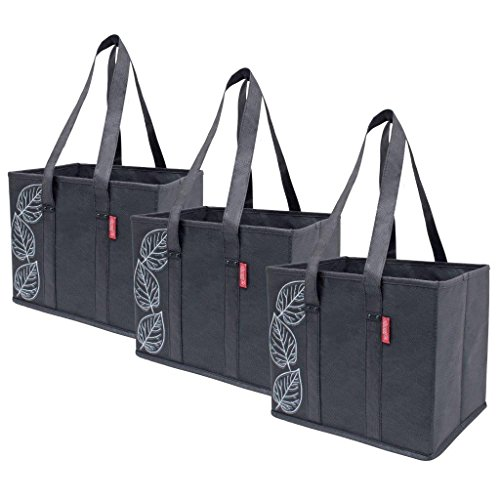 Planet E Reusable Grocery Shopping Bags Large Collapsible Boxes With Reinforced Bottoms Pack of 3 Black