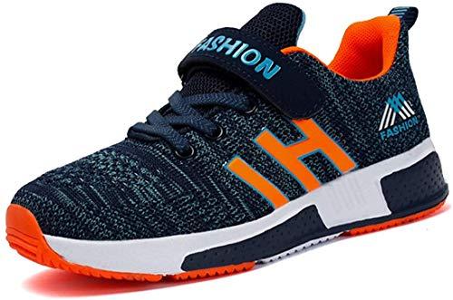UnpowlinkAtmungsaktiv Turnschuhe Jungen Hallenschuhe Kinder Sneaker Mädchen Bequeme Schuhe Outdoor Laufschuhe für Unisex-Kinder , Upwk Blau Orange, 36 EU
