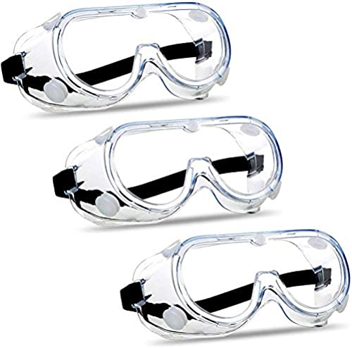 CUBBY Protective Safety Goggles Clear Lens Wide Vision Adjustable Glasses Eye Protection Eyewear