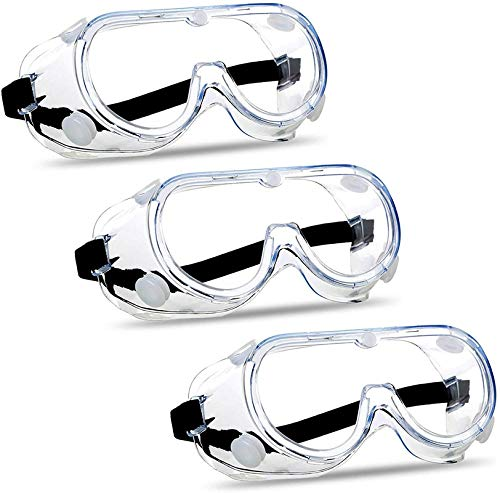 CUBBY Protective Safety Goggles Clear Lens Wide-Vision Adjustable Glasses Eye Protection Eyewear (3 pcs)