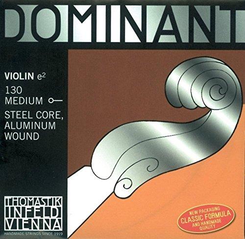 Thomastik Corde per Violino Dominant nucleo di nylon, set 4/4 dolce, Mi in acciaio rivestimento alluminio