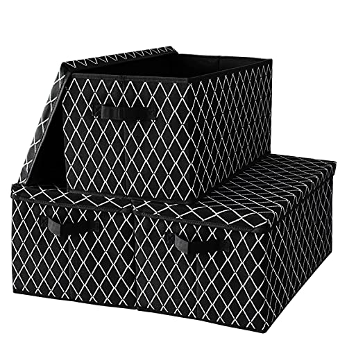 Foldable Storage Boxes with Lids,Large Fabric Storage Toy Box Baskets with 2 Handles for Wardrobe, Shelf Bedroom Office Nursery Playroom Toy 40 x 30 x 26 cm Set of 3-Black