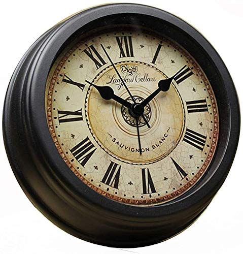 Nologo - Alarma redonda de 6 pulgadas para escritorio o pared silenciosa de noche reloj de batería sin tictachuelas para el hogar, dormitorio, oficina, viajes, color negro, negro, 16x4.5x16cm