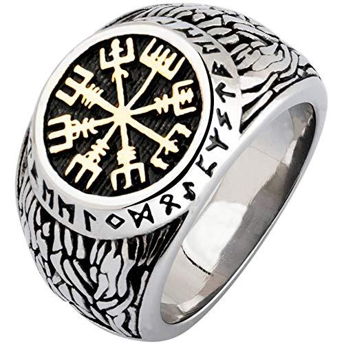 YANGFJcor Hecho a Mano Retro Viking Mjolnir Valknut Helm Rune Compass Ring, Hombres Acero Inoxidable Nordic Pagan Escandinavia Vegvisir Joyería Regalo, Tamaño 8-12,Oro,12