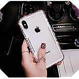 高級ファッション BlingラインストーンウルトラシリコンTPU +アクリルバックカバーCoque for iphone11プロマックスX XS MAX XR 5S 6S 7 8 PLUS-Beige-for iphone XS