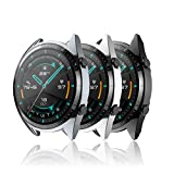 Hianjoo [3 Pack] Custodia Compatibile per Huawei Watch GT 2 46mm, Antiurto Schermo TPU Protezione Cover Compatibile per Huawei Watch GT 2 46mm - Nero, Grigio, Argento