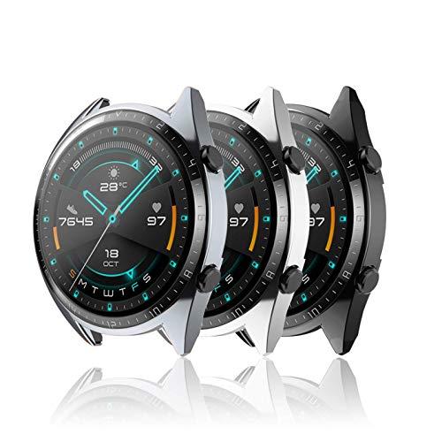 Hianjoo 3 Piezas Funda Compatible con Huawei Watch GT 2 46mm, Suave Cubierta TPU Silicona Goma con Completo Protector Pantalla Carcasa Marco Resistente Rasguños Protectora, Negro, Gris Oscuro,